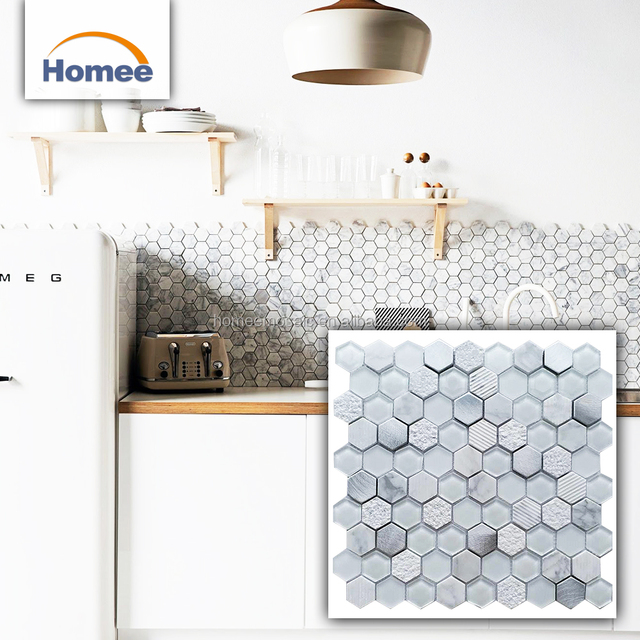 Backsplash White Colored Hexagon Aluminium Blend Stone Mix Marble And Glass Mosaic