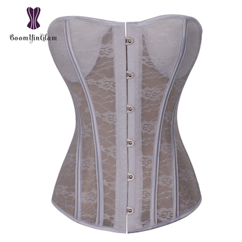 5365173ebcd Steel Busk Saxy Semitransparent Fabric Lace Corset Tops Bra Bustier With G  String For Wedding Dress