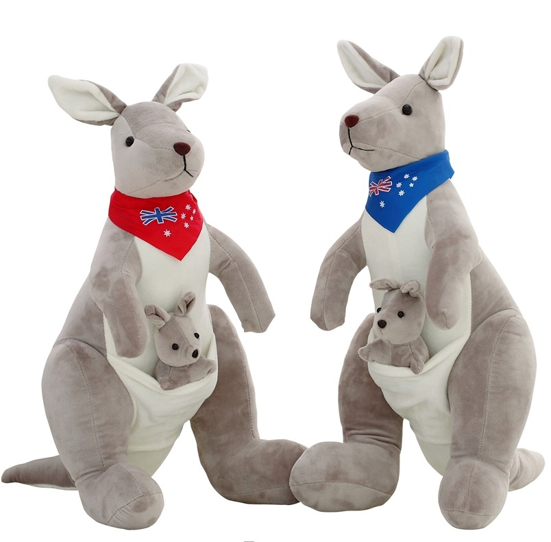 Australia Soft Stuffed Plush Animals Kangaroo Parents Family Toy 30cm Height