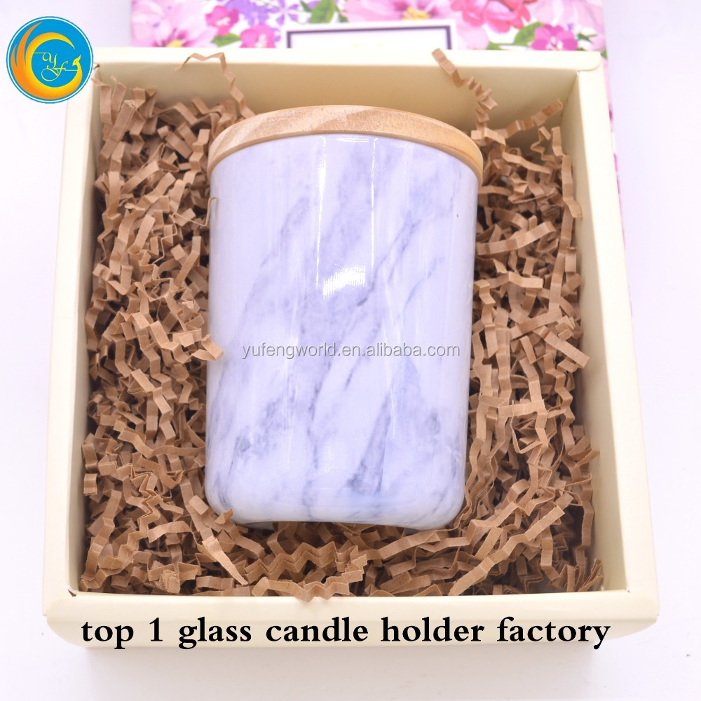White Candle Holder Marble Stone Jar With Wood Lid