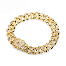 Moda Ouro Diamante Pavimentar <span class=keywords><strong>Hip</strong></span> <span class=keywords><strong>Hop</strong></span> Curb Chains <span class=keywords><strong>Pulseira</strong></span>