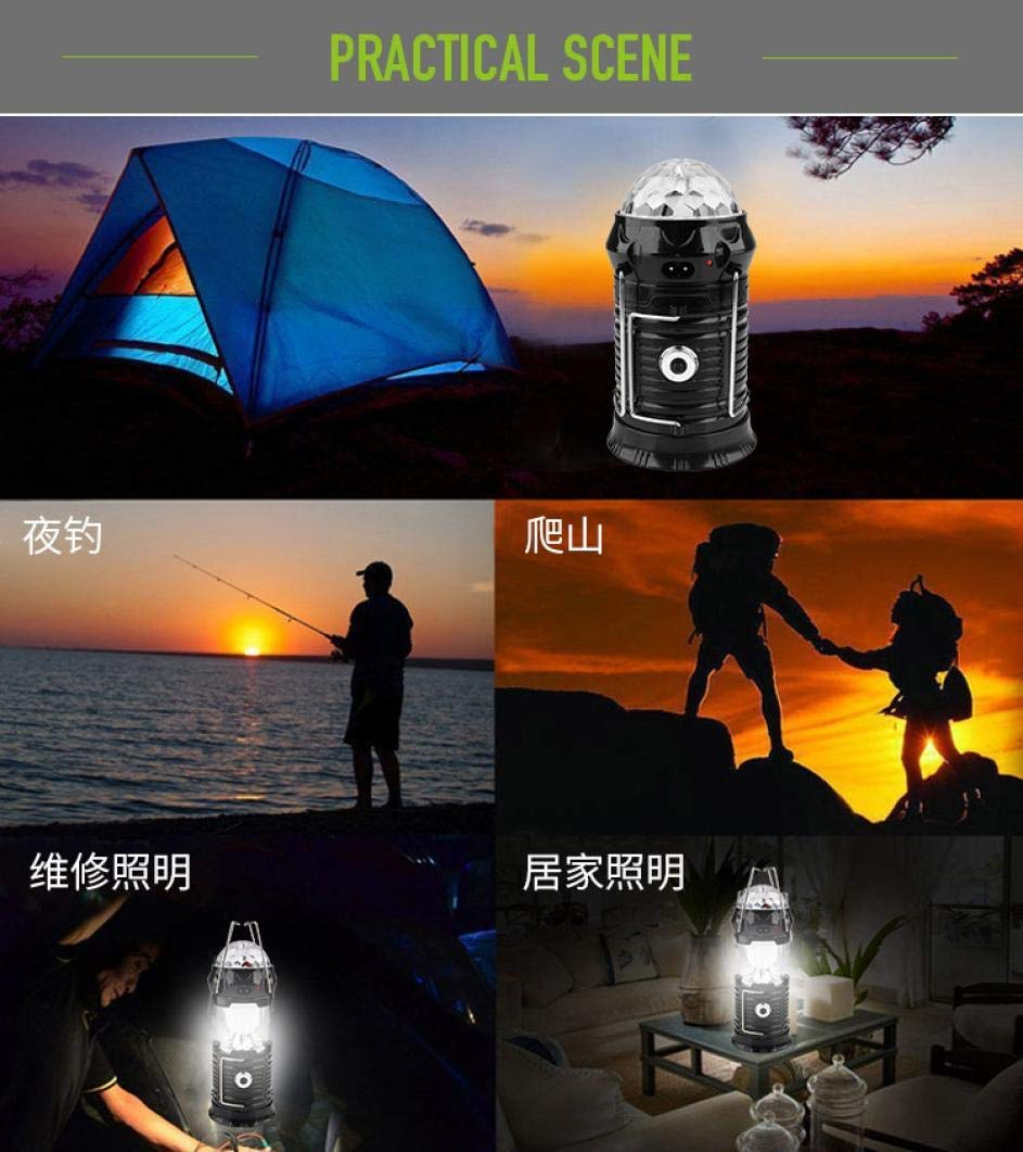 Glumes Retractable Solar Camping Lights, LED Waterproof Flashlight Tent Light Torch Lantern Lamp -Perfect For Emergency, Maintenance, Camping, Hiking, Fishing, Power Outage, Storms (black)