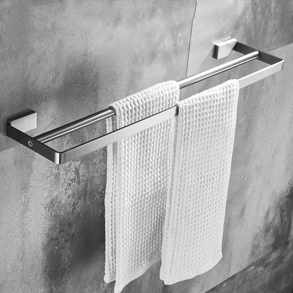 MJG-YJ Towel Rack / 304 Stainless Steel Towel Rack/Bathroom Towel Rack/Towel Rack Double Rod/Bathroom Accessories Thickening (Size : 50cm)