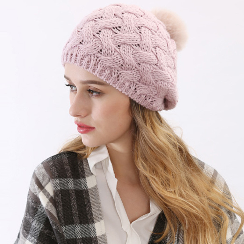 Get Quotations · 4 Colors 2015 New Fashion Women Winter Hats with Rabbit  Fur Ball High Quality Paisley Skullies 84cdca930e6