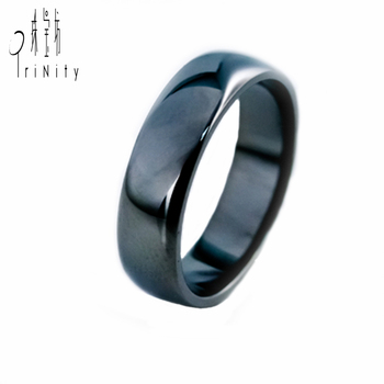 Simple Black Gold Ring Without Diamond Style Solid Pure Gold Thick