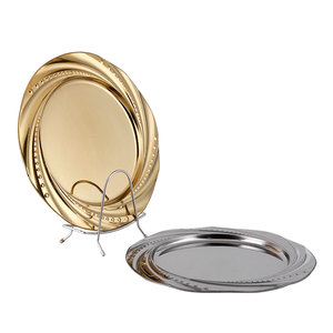 Beautiful Design Stainless Steel Round Plates Dish Set Dinner Plates Stainless Steel Serving Dish For Home Restaurant Camping