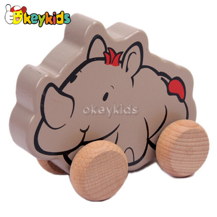 Wholesale cute rhinoceros shape baby wooden mini animal car toy play in table or floor W05B078