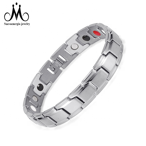 Silver IP Plated 4 in 1 Stainless Steel Customized <strong>Energy</strong> Healing <strong>Magnetic</strong> Therapy <strong>Bracelet</strong>