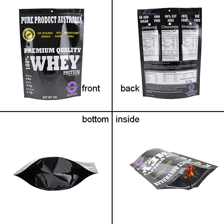 Self seal ziplock bag for nutrition supplements protein powder packaging