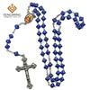 Vintage Italy Rosary Blue Molded Glass Bead