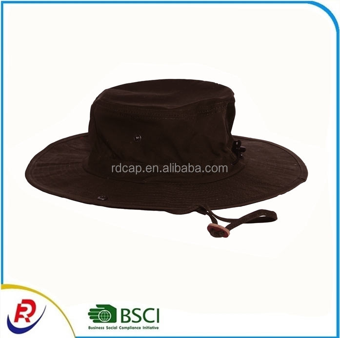 China Promotion Micro Fibre Boonie Fishing Custom Bucket Men Safari Summer String Hat Cap Wide Brim Outdoor Sun Shade Cowboy Hat