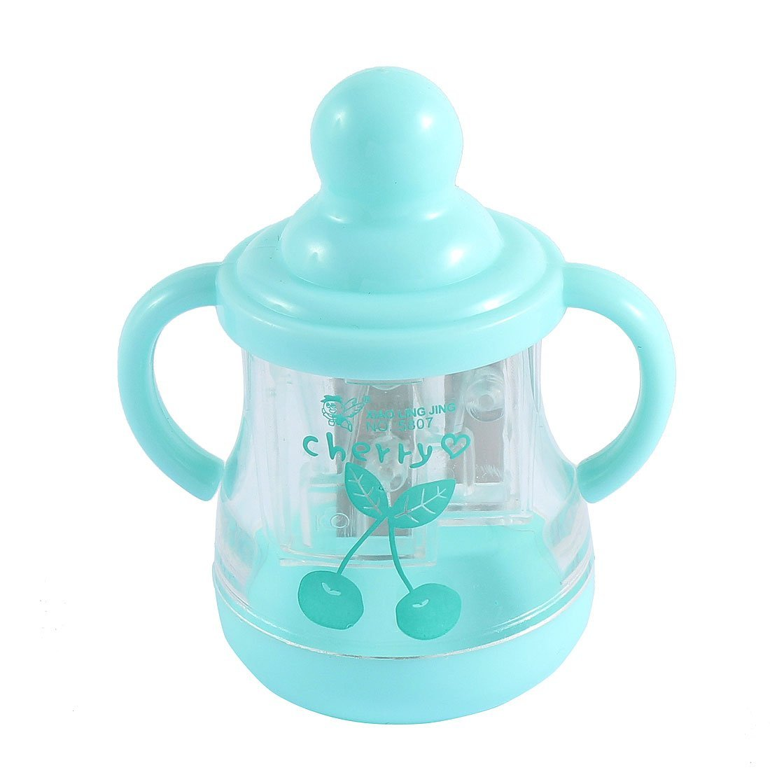 uxcell Student Feeding Bottle Design Double Holes Pencil Sharpener Light Blue