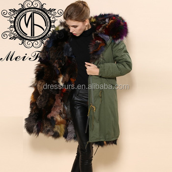 Wholesale Oem Finland Fox Fur Women Winter Coats Real Fur Hooded ...
