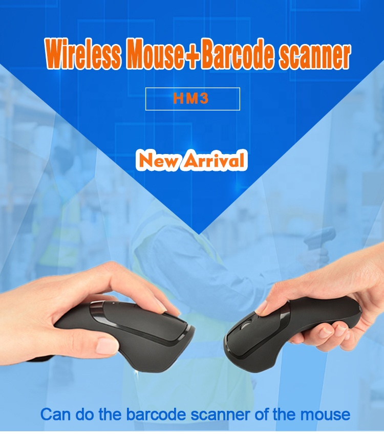 Mini Fashion Look 2.4G Wireless Bluetooth Mouse Barcode Scanner HM3