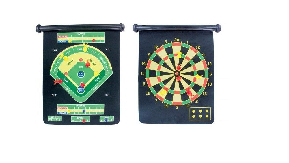 J&J's ToyScape Double-Sided Magnetic Dartboard Game With 6 Darts (2 Styles: Classic Dart, Base Ball Dart) Roll-up Wall Hanging DartBoard