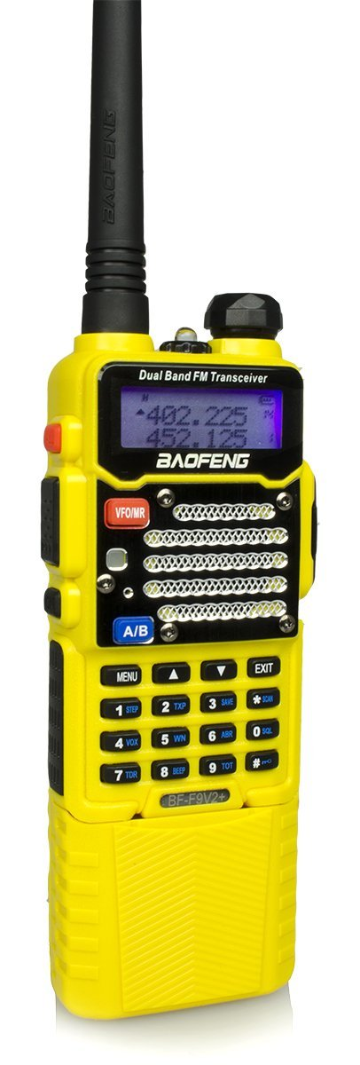 Baofeng Yellow BF-F9 V2+ HP 8Watt Tri-Power (1/4/8w) w/ 3800mah Extended Battery (USA Warranty) Dual-Band 136-174/400-520 MHz FM Ham Two-way Radio Transceiver