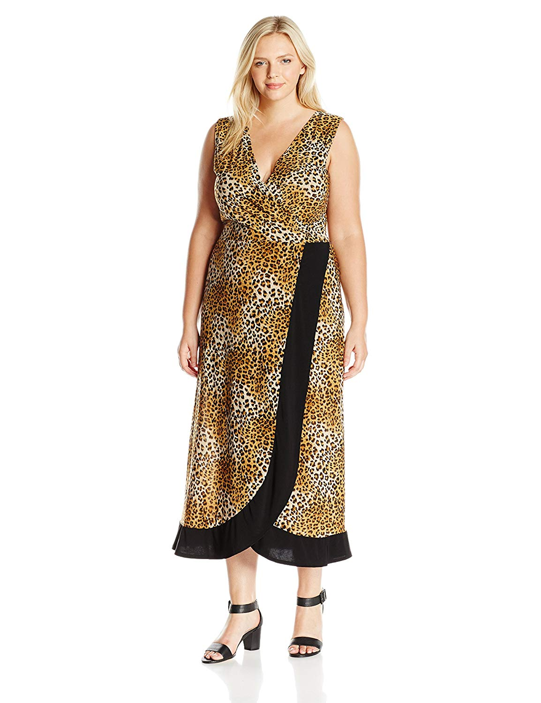 34c7f0c86 Get Quotations · Star Vixen Women's Plus Size Short Sleeve Ponte Dress with  Black Top and Tulip Wrap-