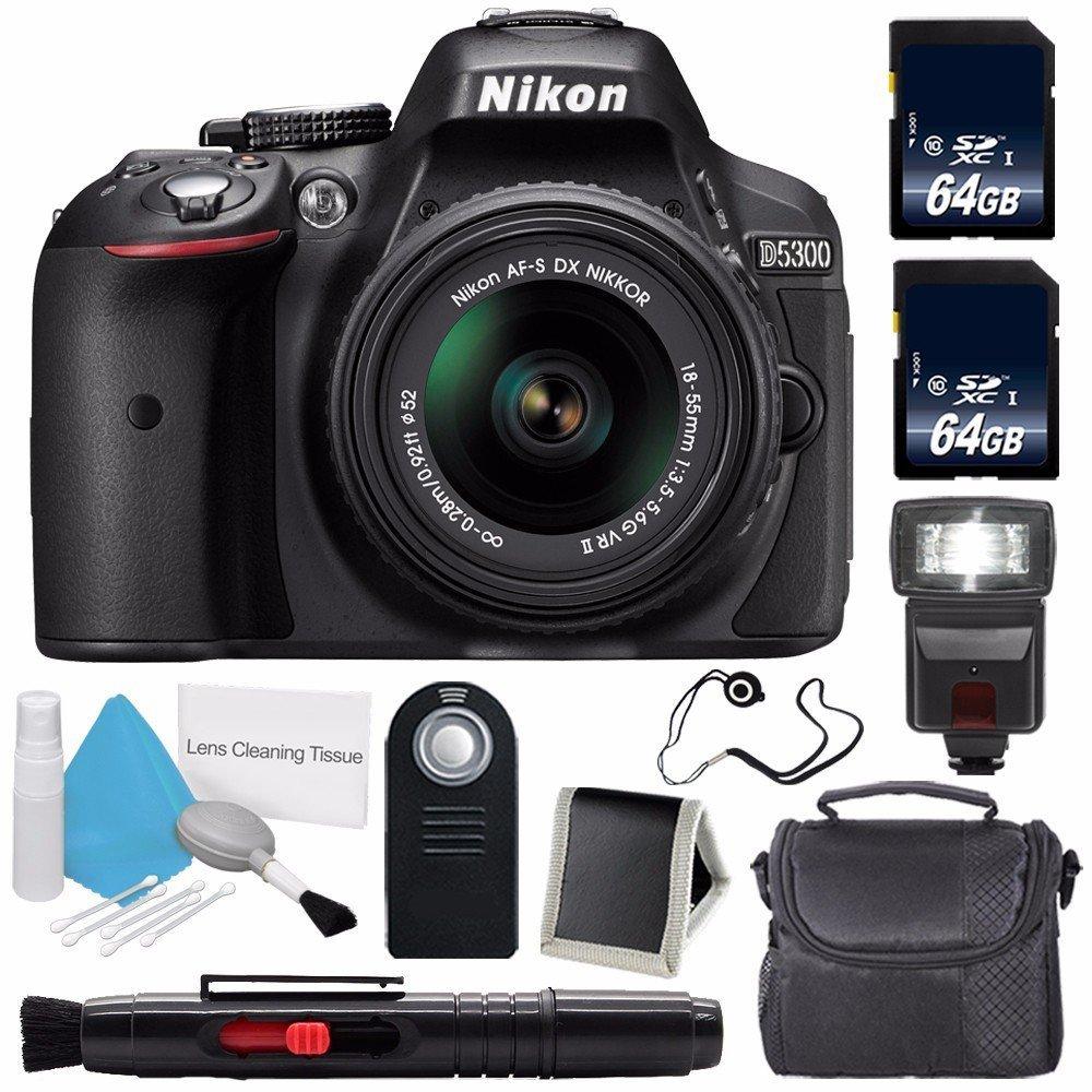 Nikon D5300 Digital Camera w/ 18-55 VR II Lens (International Model No Warranty) + 64GB SDXC Class 10 Memory Card + External Flash Bundle 57