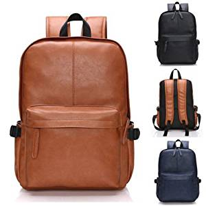 Travel backpack Men Women Vintage Leather Backpack Brown Casual Travel School Laptop Book Bag laptop backpack