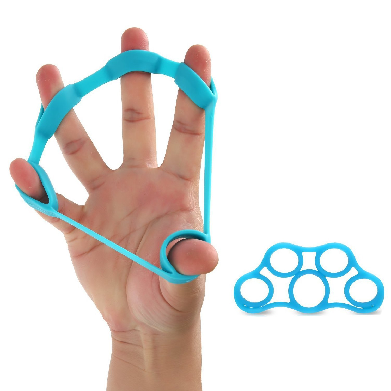 Hand Extensor Exerciser Finger Stretcher Hand Resistance Bands Finger Grip Exerciser Strengtheners Climbing Golf Grip Guitar Finger,Relieve Joint Pain Injury Rehabilitation Relaxation (Blue)
