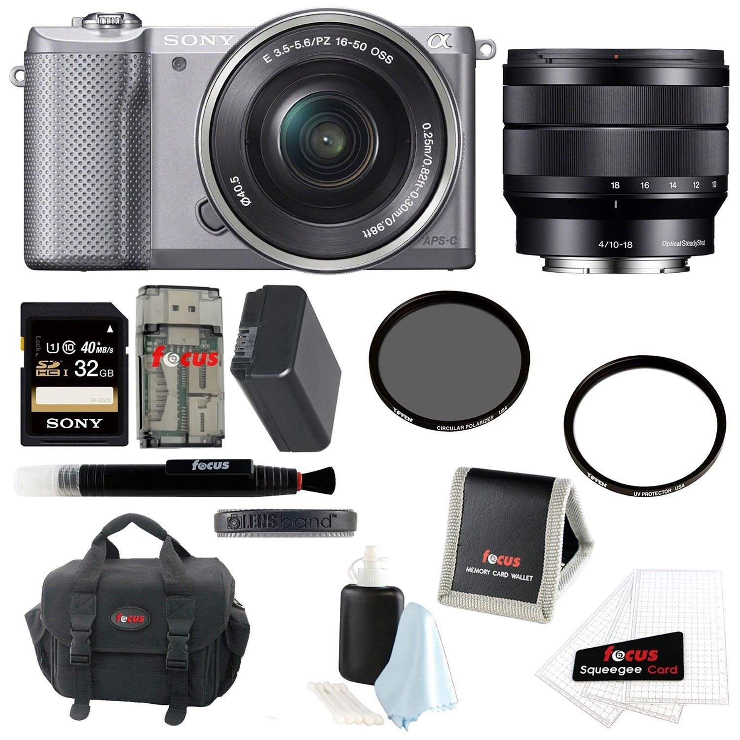 Sony Alpha A5000 ILCE-5000L/S Mirrorless Digital Camera (Silver) + Sony SEL1018 10-18mm f/4 Wide-Angle Zoom Lens + Sony 32GB SDHC/SDXC Class 10 UHS-1 Memory Card + Focus Soft Carry Case + NPFW50 Battery for Sony + Accessory Kit