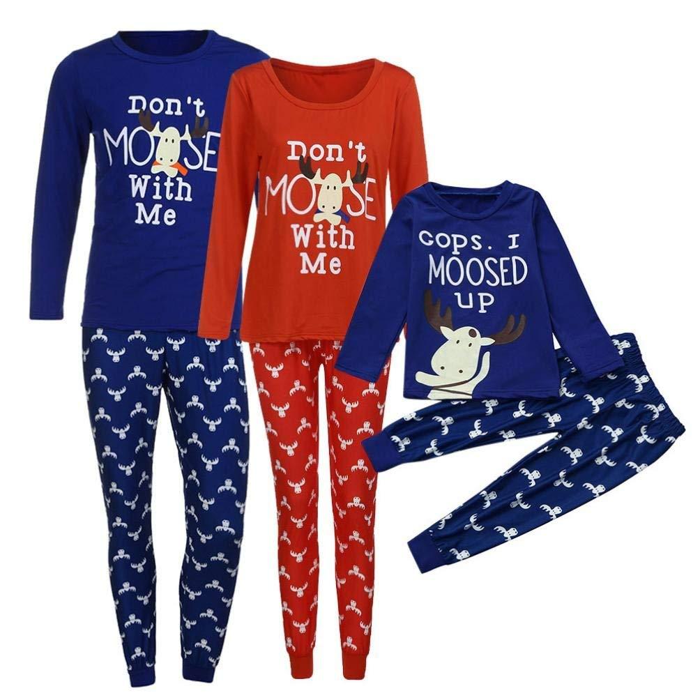 2d3c786592 Get Quotations · Ecurson Family Matching Christmas Funny Print Pajamas Set  Dad Mom Kid Matching Tops Pants Set