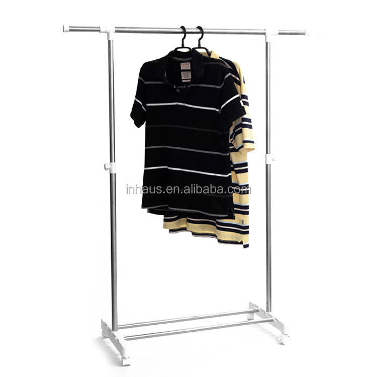 high quality movable single pole telescopic clothes drying rack heavy duty garment rack with wheels