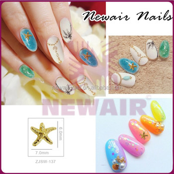 2016 New Nail Art Gold Starfish Stone Metal Stud Nail Art Rivet