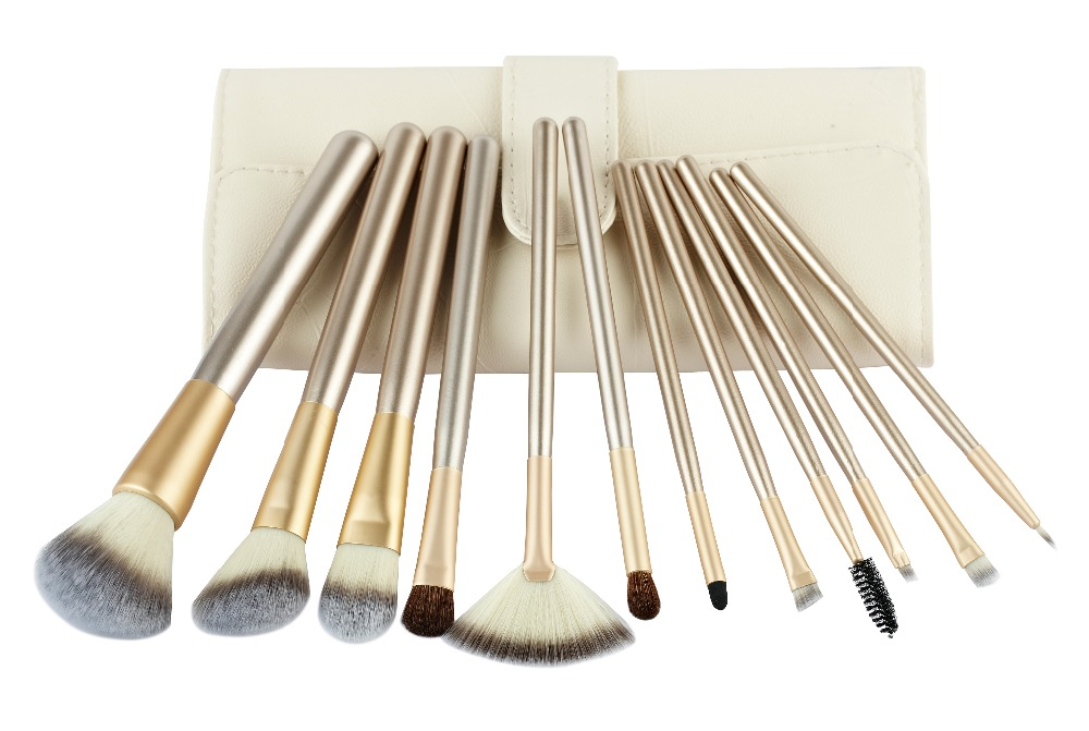 12pce pony and synthetic hair beige promote aluminum wooden makeup brush set