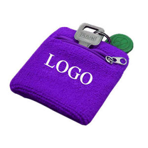 cheap embroidery logo sweat custom terry cloth sport zipper wristband