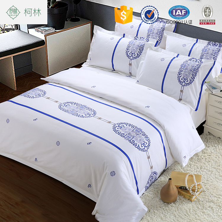 100 Cotton Print Hotel Logo Luxury Bed Linen Bedding Set Sheets