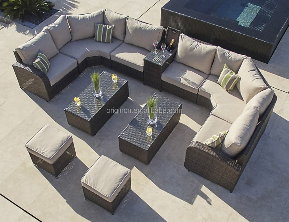 Sumptuous bali style lounger designed hotel outdoor relaxing big lots sofa synthetic rattan contemporary furniture