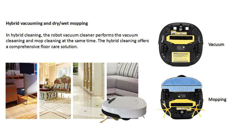 Self Charging Euro Robot Vacuum Cleaner Smart Vacuum Cleaner Robot  with Water Tank