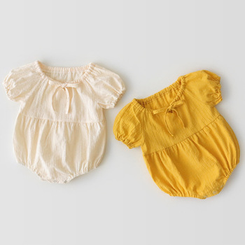 2019 summer infant baby girl baby bubble short sleeve hat two-piece cotton breathable romper