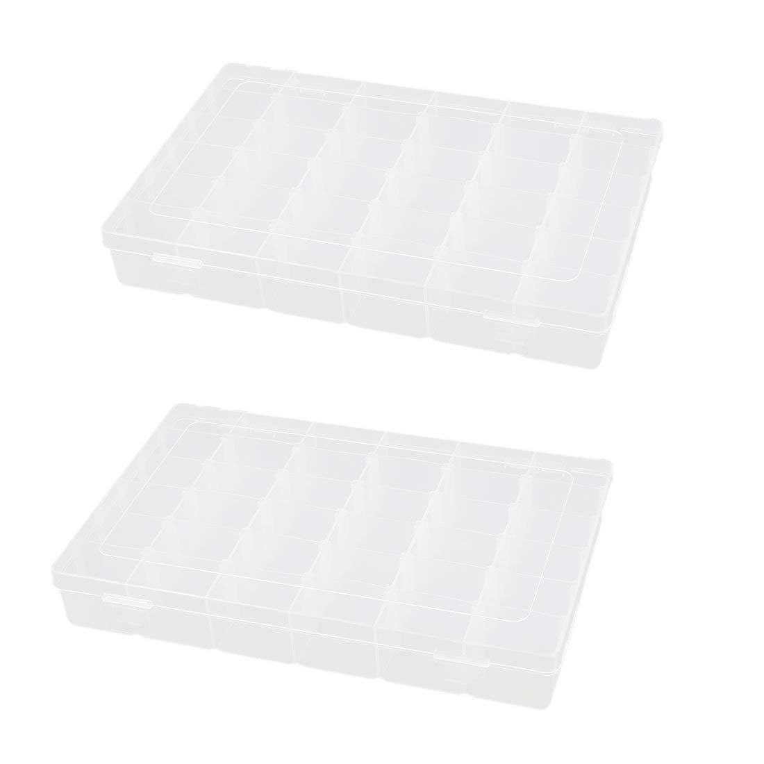 Aexit Plastic 36 Tool Organizers Components Clip On Storage Holder Box Case 2pcs Tool Boxes Clear White