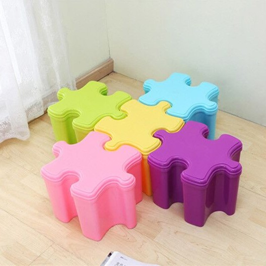 Jigsaw Design Kids Plastic Storage Toy Stool