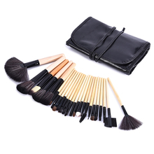 24Pcs Profession Makeup Brushes Set Make Up Tool Cosmetic Foundation Eyeshadow Powder Blush Fan Shaped Brush Leather Case