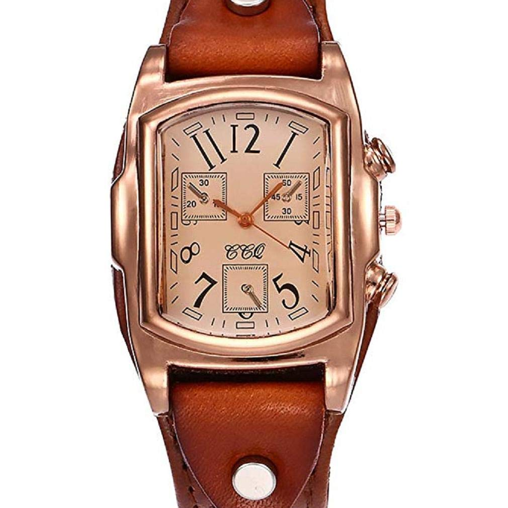 Women Quartz Watches,Windoson Retro Design Quartz Analog Lady Watches,Womens Watches, Clearance Female Watches Square Leather Wrist Watches for Women New (Brown)