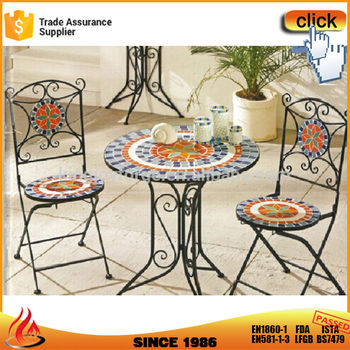 2 Person Tile Colorful Mosaic Top Bistro Garden Furniture Set For Deck Patio Outdoor