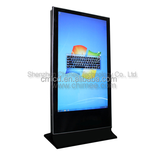 55inch standing LCD digital signage dual screen pc player