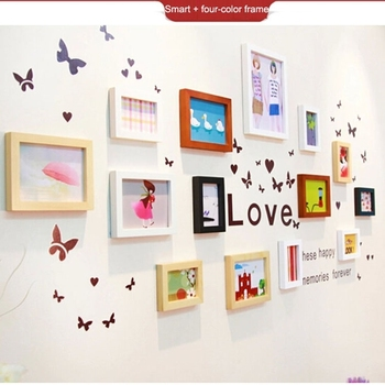Handmade Mix Color Hanging Wood Frames Hook Wall For Home Decoration