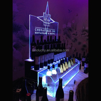 Raised Liquor Display W Ice Bin Edge Lit Logo Panel The