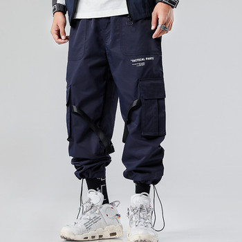 2019 Oem Streetwear Multi Pockets 100% Polyester Logo Printed Mens Baggy Tapered Cargo Jogger Pants