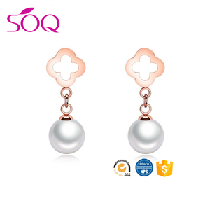 Cheap wholesale stainless steel finish big pearl stud fake earring for women