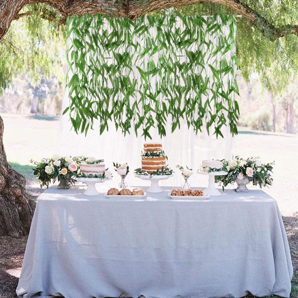 LMD Artificial Willow Leaves 50 Pcs Artificial Hanging Plants Wicker Twig Silk Hanging Vines Jungle Foliage Greenery