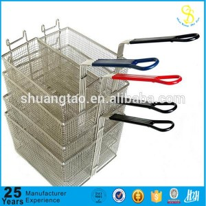 Guangzhou manufacture deep fry wire baskets, metal wire mesh stacking basket, metal cooking mesh fry basket