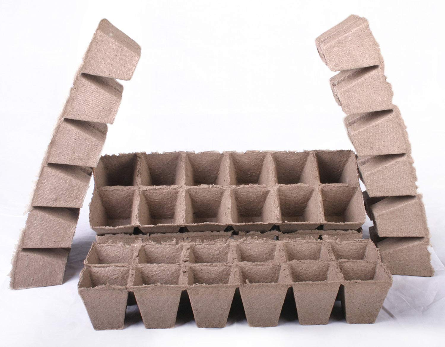 48 NEW Square Jiffy Peat Pots Size 2.25x2.25 - Strips ~ Pots Are 2.25 Inch Square At the Top and 2.25 Inch Deep.