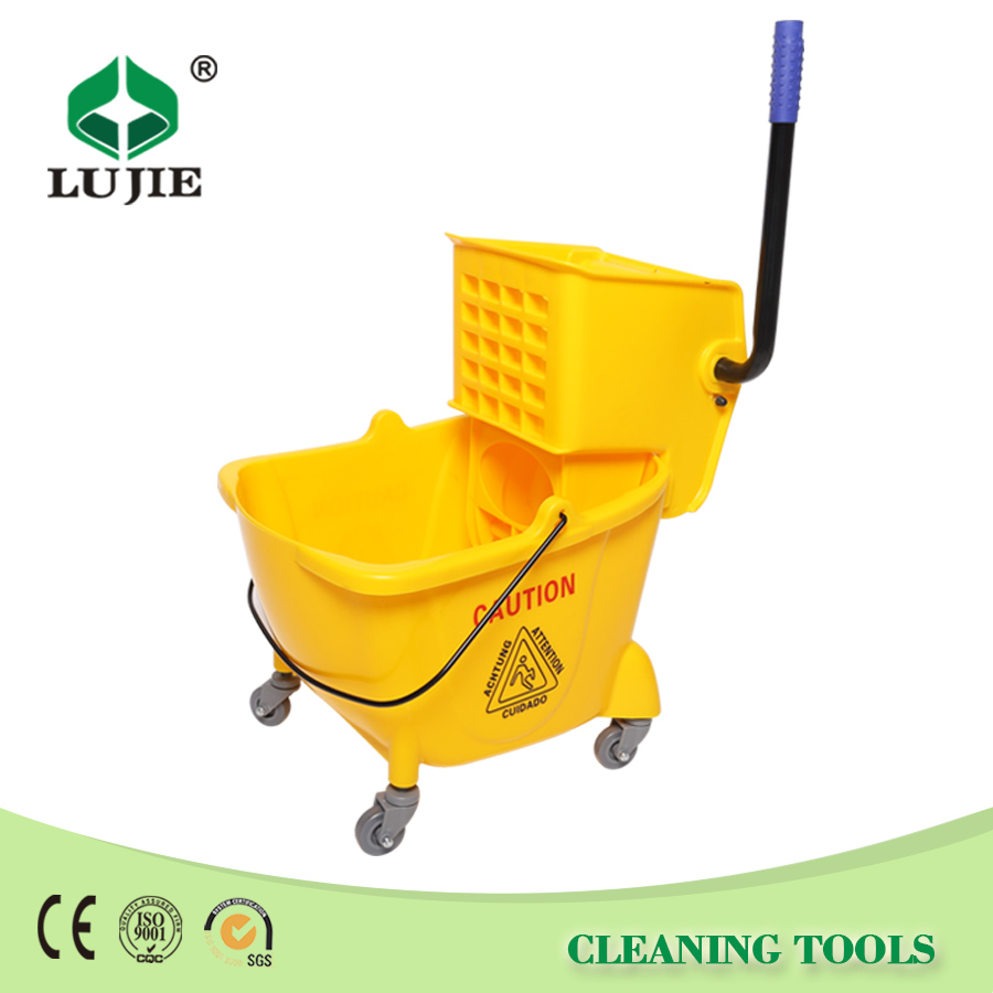 Durable plastic squeeze bucket trolley mop wringer with wheels