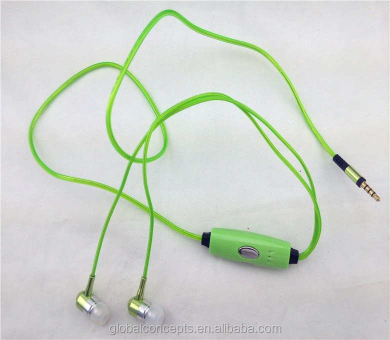 Glowing stereo headphone in-ear earphone with MIC and volume control