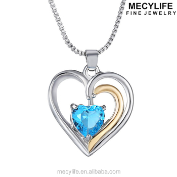 Mecylife zircon heart necklace blue crystal heart ocean necklace mecylife zircon heart necklace blue crystal heart ocean necklace aloadofball Image collections